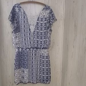 B. Smart blue white dress with lace detail